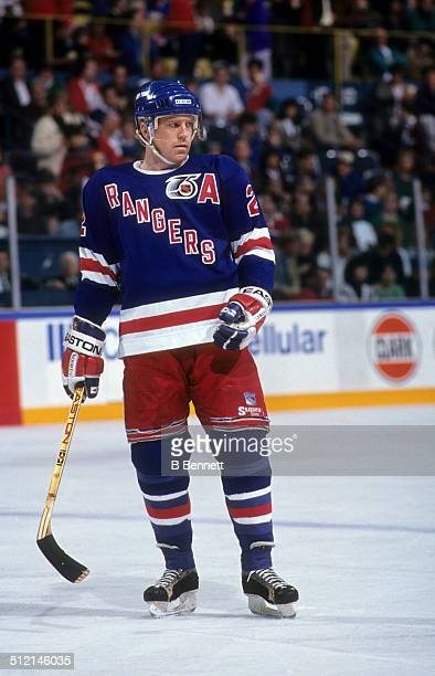 Brian Leetch of the New York Rangers skates on the ice during an NHL game in 1992