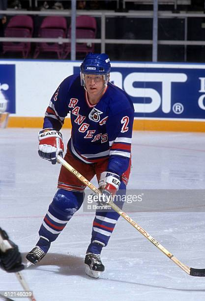 Brian Leetch of the New York Rangers skates on the ice during an NHL game against the Pittsburgh Penguins on April 16 1992 at the Madison Square...