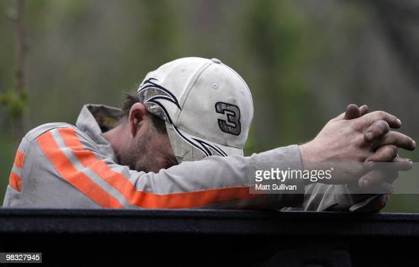 Brian Lemon a Massey Energy miner at the Blackstone Mine leans against a truck near the Upper Big Branch Mine on April 8 2010 in Montcoal West...