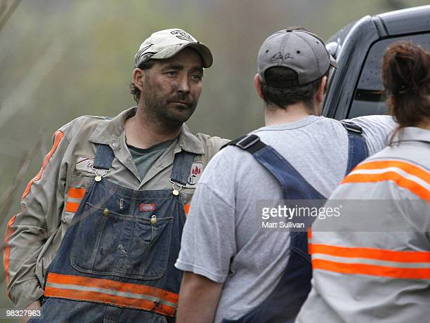 Brian Lemon a Massey Energy miner at the Blackstone Mine talks with other miners near the Upper Big Branch Mine on April 8 2010 in Montcoal West...