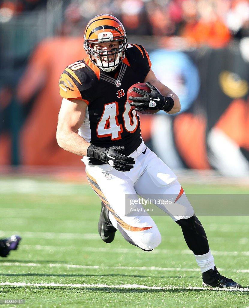 Brian Leonard #40 of the Cincinnati Bengals runs with the ball during the NFL game against the Baltimore Ravens at Paul Brown Stadium on December 30, 2012 in Cincinnati, Ohio.