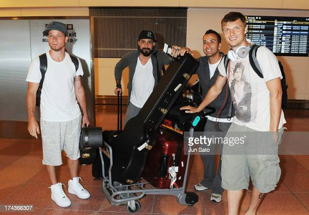 Brian Littrell A J McLean Howie Dorough and Nick Carter of the Backstreet Boys pose for a photograph at Tokyo International Airport on July 25 2013...