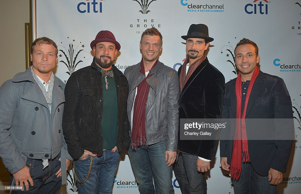 Brian Littrell, A.J. McLean, Nick Carter, Kevin Richardson and Howie Dorough of the Backstreet Boys attend The Grove's 10th Annual Star Studded Holiday Tree Lighting Spectacular Presented By Citi at The Grove on November 11, 2012 in Los Angeles, California.