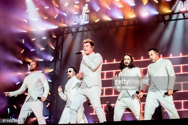 Brian Littrell AJ McLean Nick Carter Kevin Richardson and Howie Dorough of Backstreet Boys performs onstage headlining Day 4 of the 50th Festival...