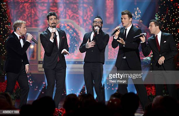 Brian Littrell Kevin Richardson AJ McLean Nick Carter and Howie Dorough of the Backstreet Boys perform onstage at TNT Christmas in Washington 2013 at...