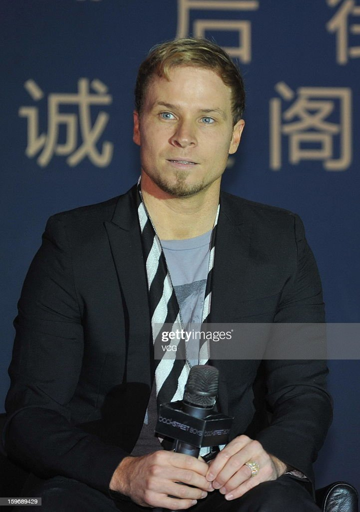 <a gi-track='captionPersonalityLinkClicked' href=/galleries/search?phrase=Brian+Littrell&family=editorial&specificpeople=215310 ng-click='$event.stopPropagation()'>Brian Littrell</a> of Backstreet Boys attends press conference during their Asia tour on January 18, 2013 in Beijing, China.