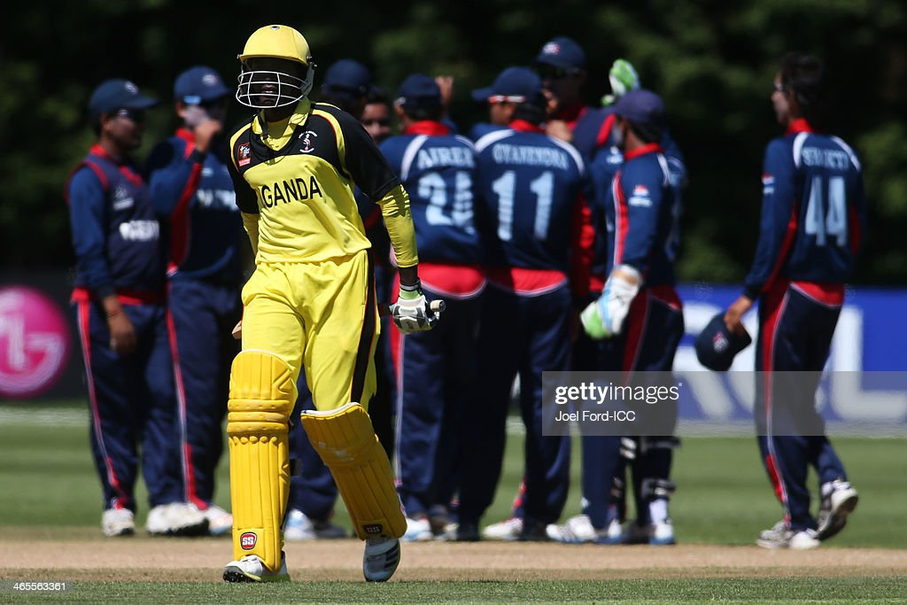 Brian Masaba of Uganda walks off the pitch after being dismissed during an ICC World Cup qualifying playoff between Uganda and Nepal on January 28, 2014 in Mount Maunganui, New Zealand.