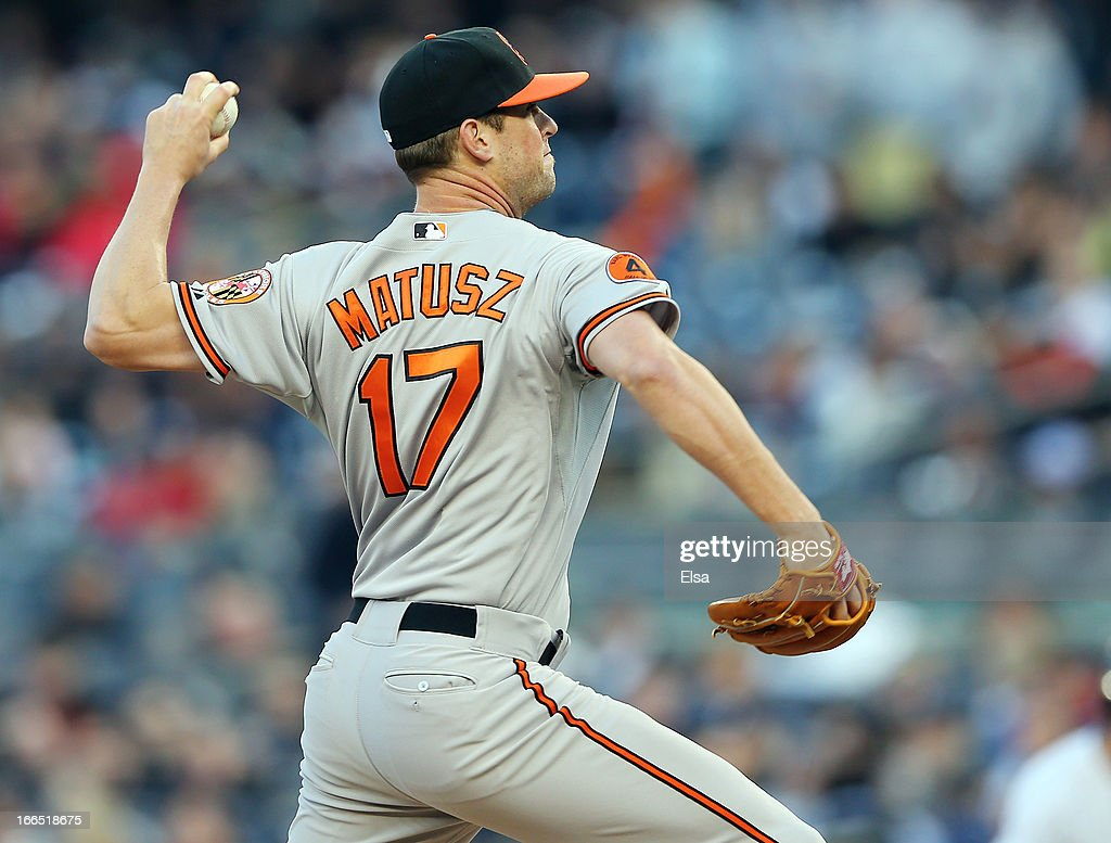 <a gi-track='captionPersonalityLinkClicked' href=/galleries/search?phrase=Brian+Matusz&family=editorial&specificpeople=4412757 ng-click='$event.stopPropagation()'>Brian Matusz</a> #17 of the Baltimore Orioles delivers a pitch to the New York Yankees on April 13, 2013 at Yankee Stadium in the Bronx borough of New York City.The Baltimore Orioles defeated the New York Yankees 5-3.