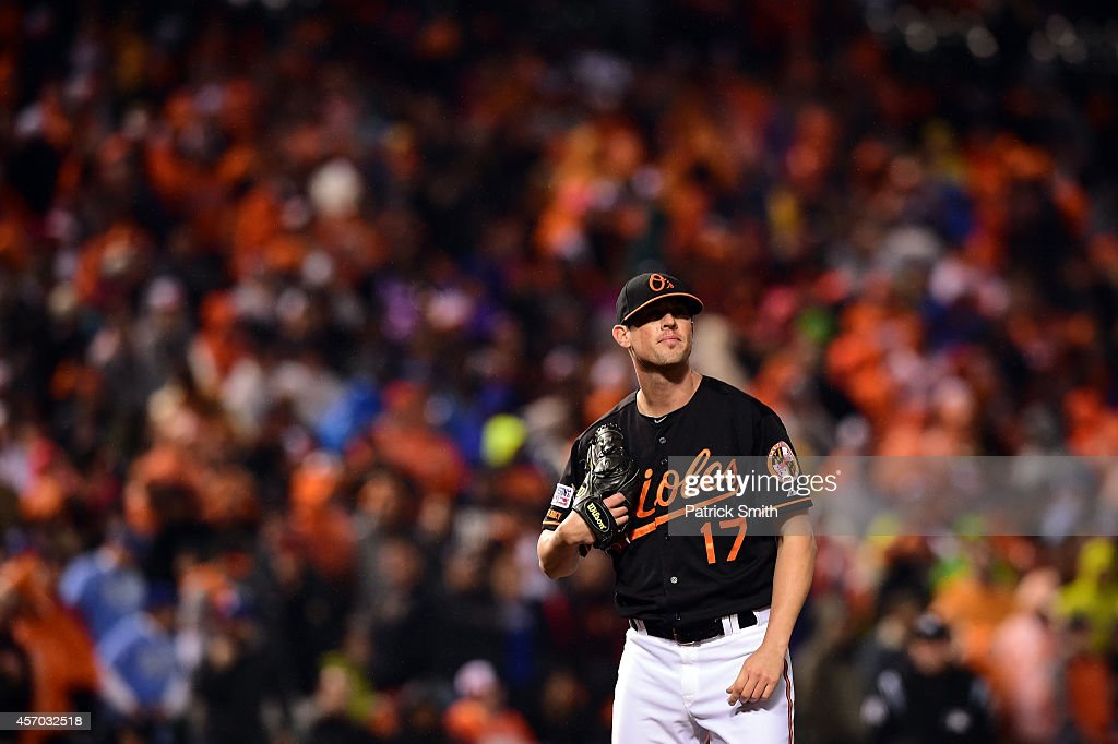 Brian Matusz #17 of the Baltimore Orioles reacts after Mike Moustakas #8 of the Kansas City Royals hit a two run home run to right center field in the tenth inning during Game One of the American League Championship Series at Oriole Park at Camden Yards on October 10, 2014 in Baltimore, Maryland.
