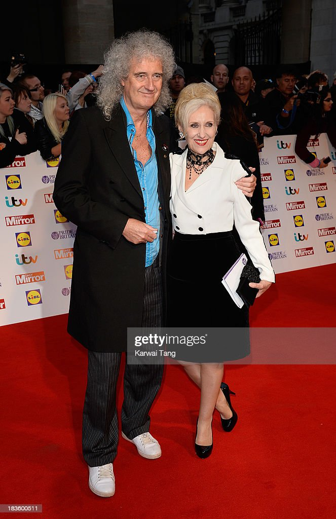 <a gi-track='captionPersonalityLinkClicked' href=/galleries/search?phrase=Brian+May&family=editorial&specificpeople=158059 ng-click='$event.stopPropagation()'>Brian May</a> and <a gi-track='captionPersonalityLinkClicked' href=/galleries/search?phrase=Anita+Dobson&family=editorial&specificpeople=215280 ng-click='$event.stopPropagation()'>Anita Dobson</a> attend the Pride of Britain awards at the Grosvenor House, on October 7, 2013 in London, England.
