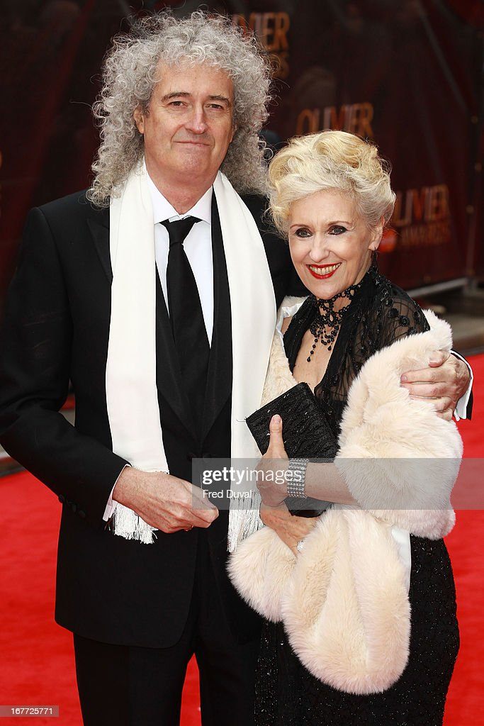 <a gi-track='captionPersonalityLinkClicked' href=/galleries/search?phrase=Brian+May&family=editorial&specificpeople=158059 ng-click='$event.stopPropagation()'>Brian May</a> and Antia Dobson attend The Laurence Olivier Awards at The Royal Opera House on April 28, 2013 in London, England.