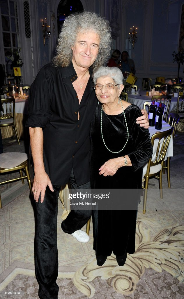 Brian May (L) and Freddie Mercury's mother Jer Bulsara attend 'Freddie For A Day', celebrating Freddie Mercury's 65th birthday, in aid of The Mercury Pheonix Trust at The Savoy Hotel on September 5, 2011 in London, England.