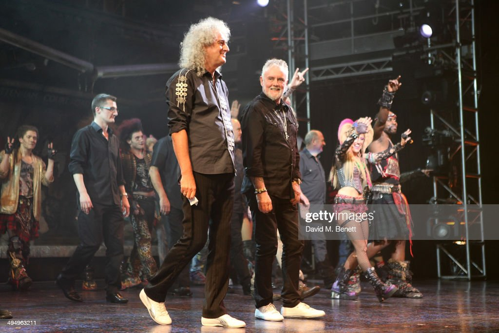 <a gi-track='captionPersonalityLinkClicked' href=/galleries/search?phrase=Brian+May&family=editorial&specificpeople=158059 ng-click='$event.stopPropagation()'>Brian May</a> and Roger Taylor during the curtain call of the final performance of 'We Will Rock You' at the Dominion Theatre on May 31, 2014 in London, England.