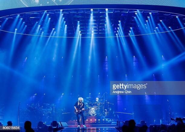 Brian May and Roger Taylor of Queen Adam Lambert performs on stage at Pepsi Live at Rogers Arena on July 2 2017 in Vancouver Canada