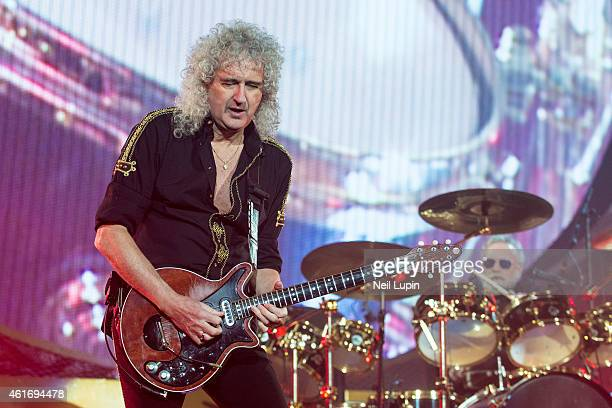 Brian May and Roger Taylor perform on stage as Queen Adam Lambert at O2 Arena on January 17 2015 in London United Kingdom
