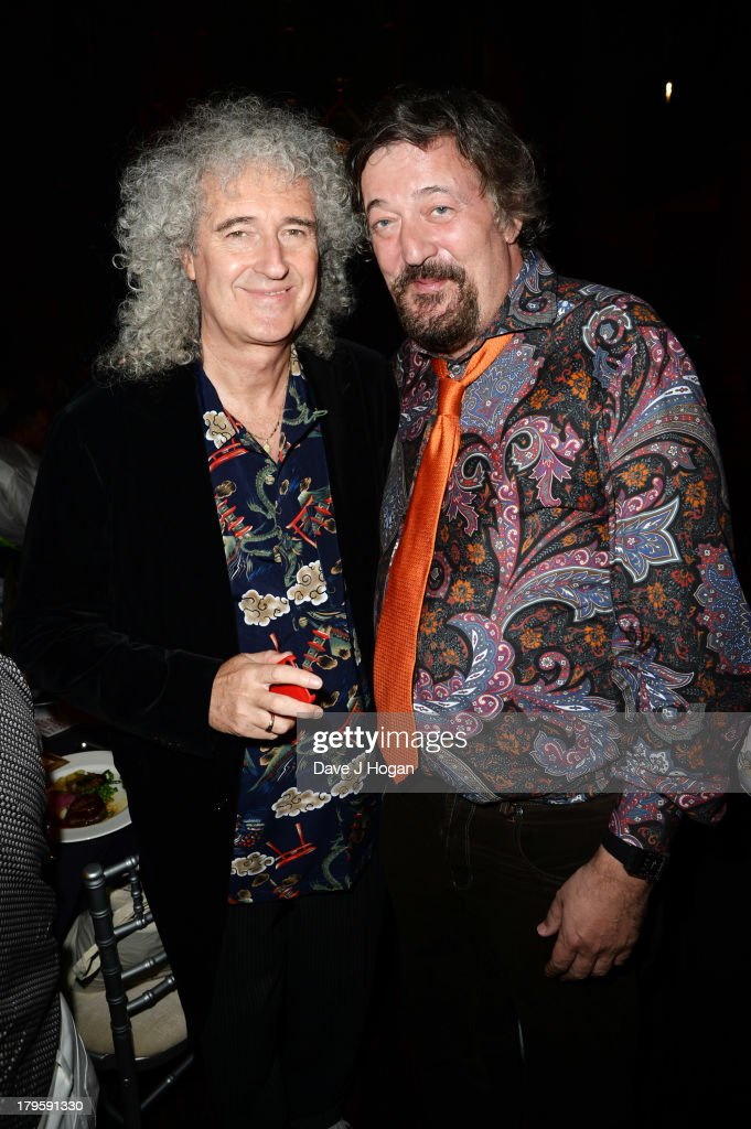 Brian May and Stephen Fry attend The Mercury Phoenix Trust Queens Aids Benefit at One Mayfair on September 5, 2013 in London, England.