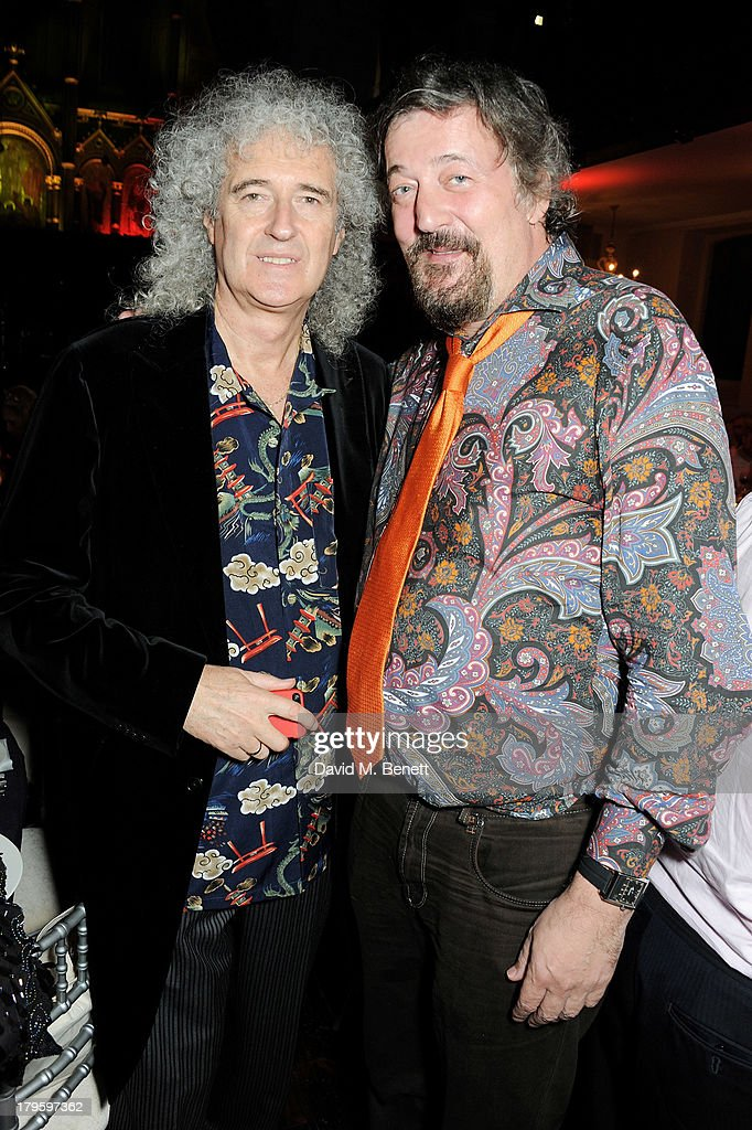 Brian May (L) and Stephen Fry attend the Queen AIDS Benefit in support of The Mercury Phoenix Trust at One Mayfair on September 5, 2013 in London, England.