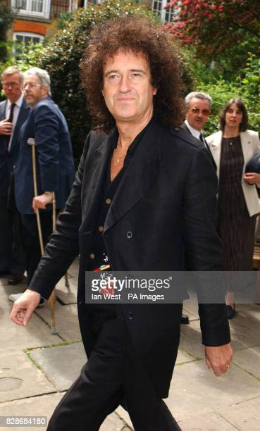 Brian May arrives for a memorial service at St Paul's Church in London's Covent Garden to celebrate the life of sixties legend Lonnie Donegan