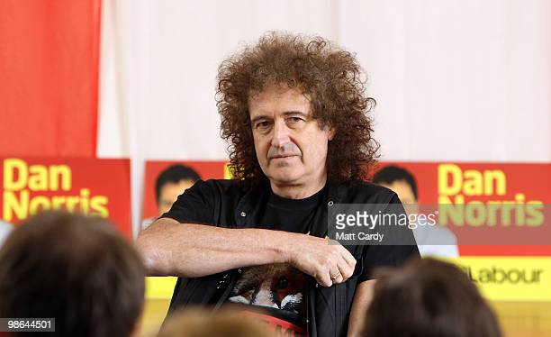 Brian May founding member of the rock band Queen listens to a question posed to him at the Royal British Legion on April 24 2010 in Keynsham England...