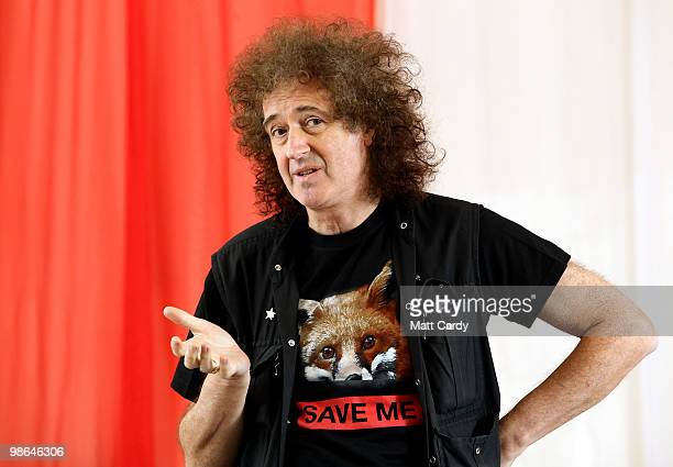 Brian May founding member of the rock band Queen speaks at meeting at the Royal British Legion on April 24 2010 in Keynsham England The legendary...