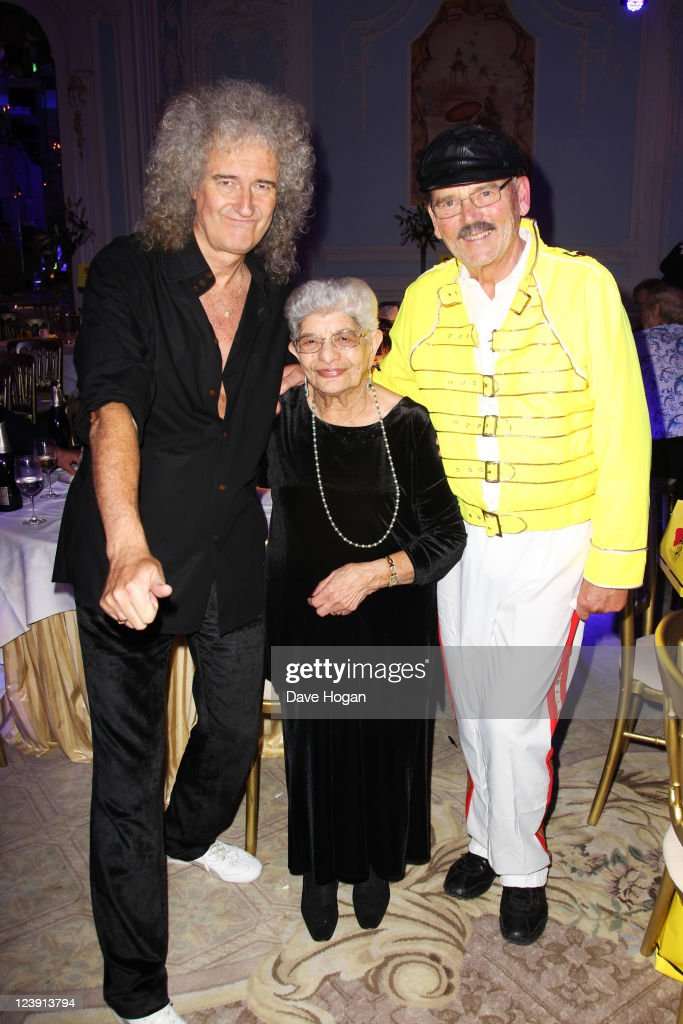 L-R Brian May, Jer Bulsara and Jim Beach attend the Freddie For A Day 65th birthday anniversary party at The Savoy Hotel on September 5, 2011 in London, United Kingdom.