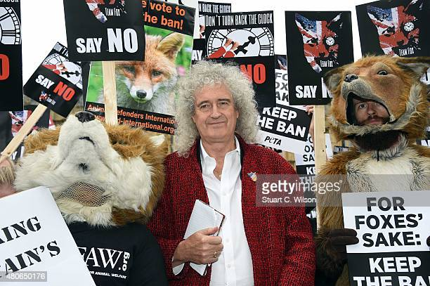 Brian May leads an antifox hunting rally for PETA on July 14 2015 in London England