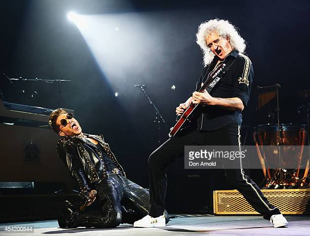 Brian May of legendary rock band QUEEN and Adam Lambert perform during the first QUEEN tour of Australia since 1985 at Allphones Arena on August 26...