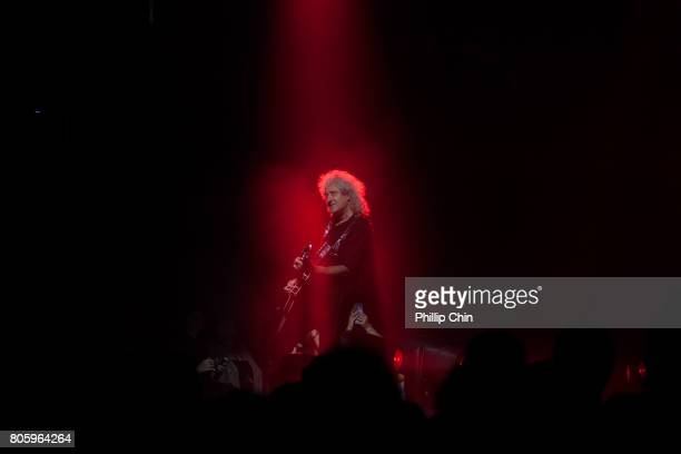 Brian May of Queen Adam Lambert perform at Pepsi Live at Rogers Arena at Pepsi Live at Rogers Arena on July 2 2017 in Vancouver Canada