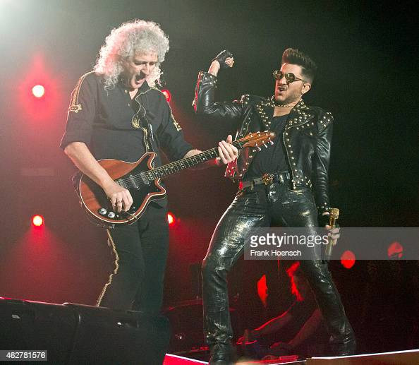 Brian May of Queen and Adam Lambert perform live during a concert at the O2 World on February 4 2015 in Berlin Germany