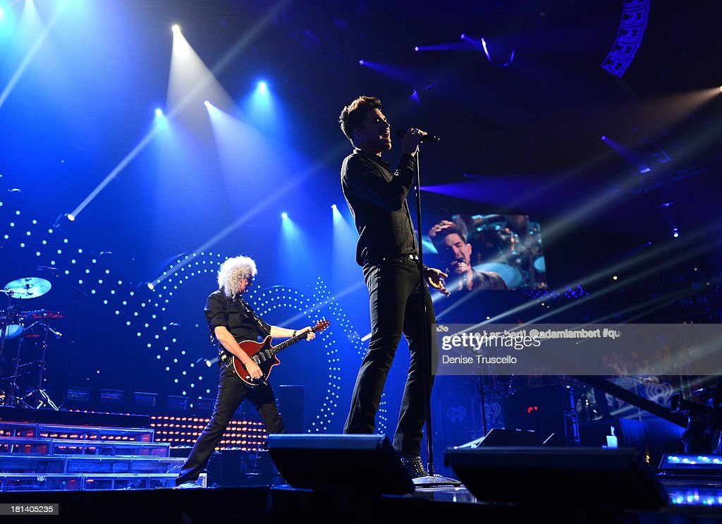 <a gi-track='captionPersonalityLinkClicked' href=/galleries/search?phrase=Brian+May&family=editorial&specificpeople=158059 ng-click='$event.stopPropagation()'>Brian May</a> of Queen (L) and <a gi-track='captionPersonalityLinkClicked' href=/galleries/search?phrase=Adam+Lambert&family=editorial&specificpeople=5706674 ng-click='$event.stopPropagation()'>Adam Lambert</a> perform onstage during the iHeartRadio Music Festival at the MGM Grand Garden Arena on September 20, 2013 in Las Vegas, Nevada.