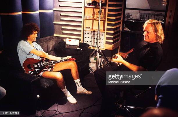 Brian May of Queen and David Gilmour recording at Metropolis Studios in Chiswick London for Rock Aid Armenia the Armenian earthquake appeal 8th July...