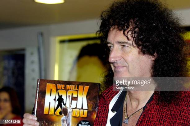 Brian May of Queen during Brian May Signs 'We Will Rock You' Show Book at Virgin Megastore Piccadilly in London Great Britain