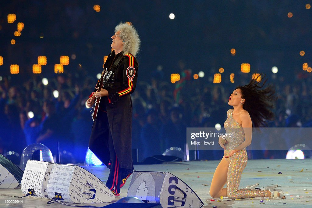 Brian May of Queen performs alongside Jessie J during the Closing Ceremony on Day 16 of the London 2012 Olympic Games at Olympic Stadium on August 12, 2012 in London, England.