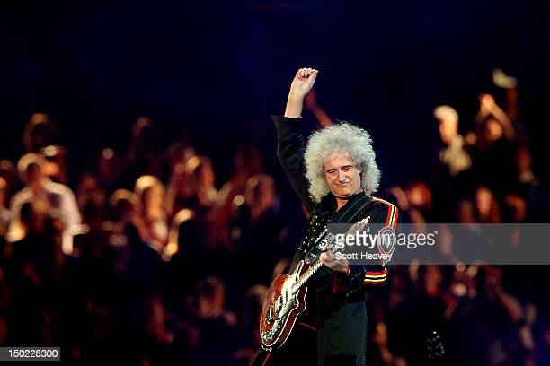 Brian May of Queen performs during the Closing Ceremony on Day 16 of the London 2012 Olympic Games at Olympic Stadium on August 12 2012 in London...
