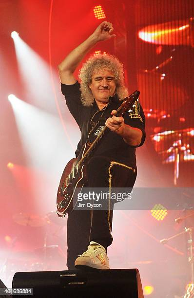 Brian May of Queen performs live on stage at 02 Arena on January 17 2015 in London England