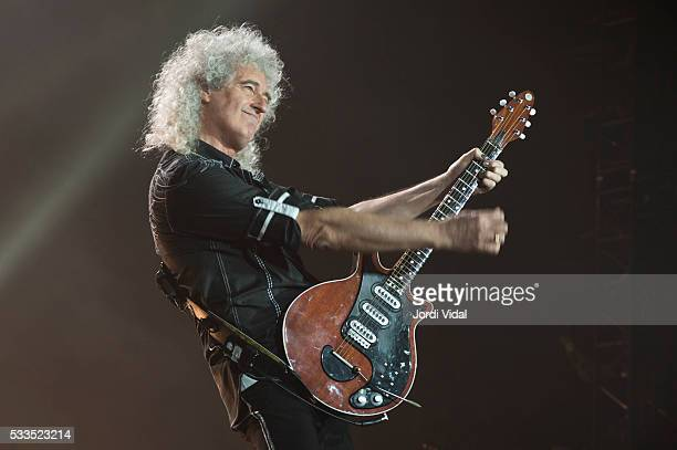 Brian May of Queen performs on stage at Palau Sant Jordi on May 22 2016 in Barcelona Spain