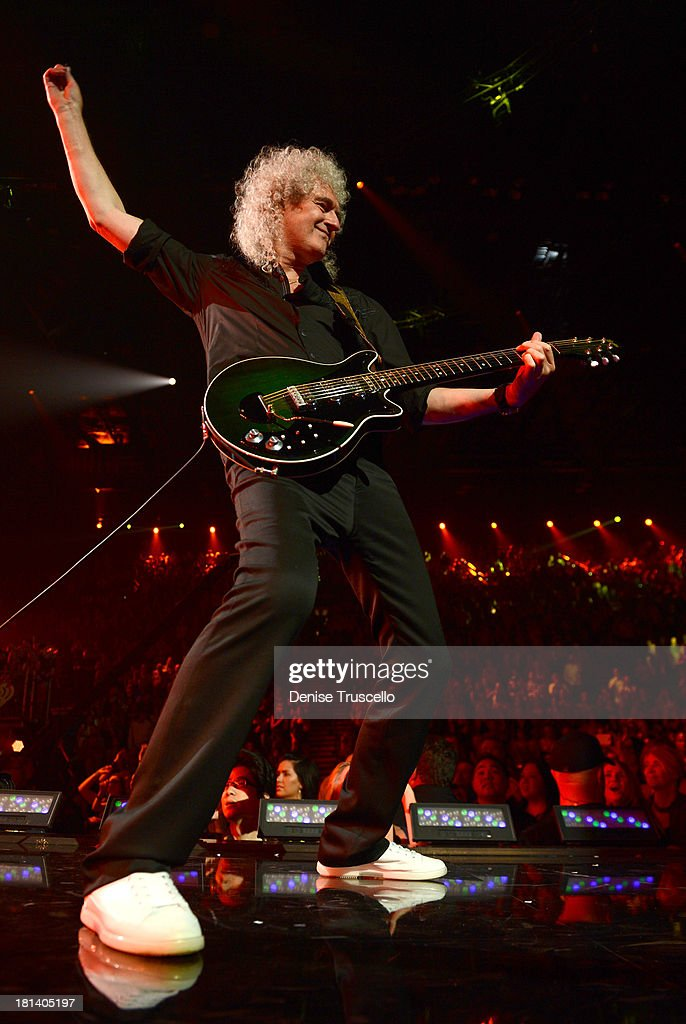 <a gi-track='captionPersonalityLinkClicked' href=/galleries/search?phrase=Brian+May&family=editorial&specificpeople=158059 ng-click='$event.stopPropagation()'>Brian May</a> of Queen performs onstage during the iHeartRadio Music Festival at the MGM Grand Garden Arena on September 20, 2013 in Las Vegas, Nevada.