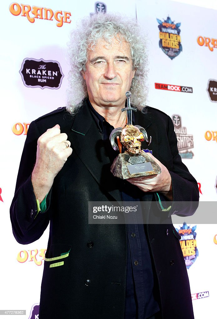 Brian May of Queen wins Riff Lord Award at the Metal Hammer Golden Gods awards on June 15, 2015 in London, England.