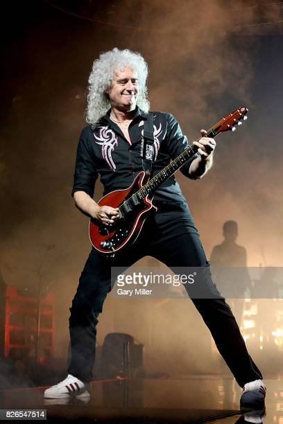 Brian May performs in concert with Queen at the American Airlines Center on August 4 2017 in Dallas Texas