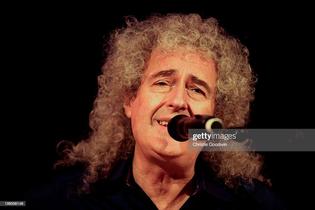 <a gi-track='captionPersonalityLinkClicked' href=/galleries/search?phrase=Brian+May&family=editorial&specificpeople=158059 ng-click='$event.stopPropagation()'>Brian May</a> performs on stage as part of the Kerry Ellis & <a gi-track='captionPersonalityLinkClicked' href=/galleries/search?phrase=Brian+May&family=editorial&specificpeople=158059 ng-click='$event.stopPropagation()'>Brian May</a> Born Free Tour at the Union Chapel on November 11, 2012 in London, England.