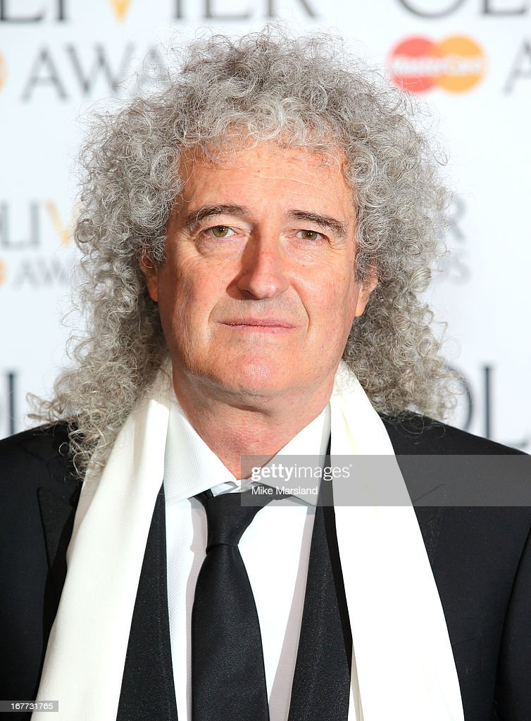 <a gi-track='captionPersonalityLinkClicked' href=/galleries/search?phrase=Brian+May&family=editorial&specificpeople=158059 ng-click='$event.stopPropagation()'>Brian May</a> poses in the press room at The Laurence Olivier Awards at The Royal Opera House on April 28, 2013 in London, England.