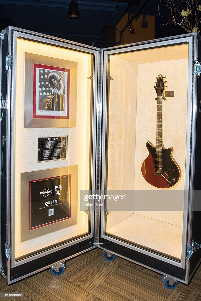 Brian May's handwritten set list and Guild 'Red Special' guitar on display at Hard Rock's 'Gone Too Soon' and 'Music Gives Back' Media Preview Day at Hard Rock Cafe New York on February 13, 2013 in New York City.