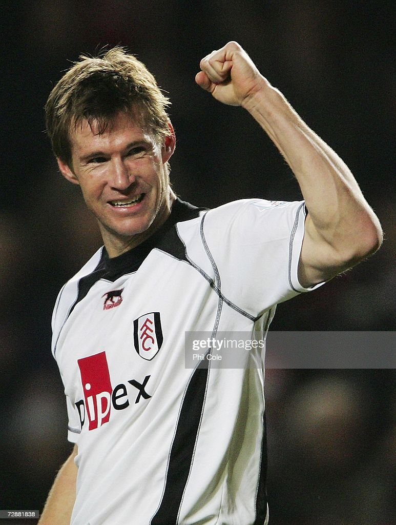 Brian McBride of Fulham celebrates after scoring the opening goal during the Barclays Premiership match between Charlton Athletic and Fulham at The...