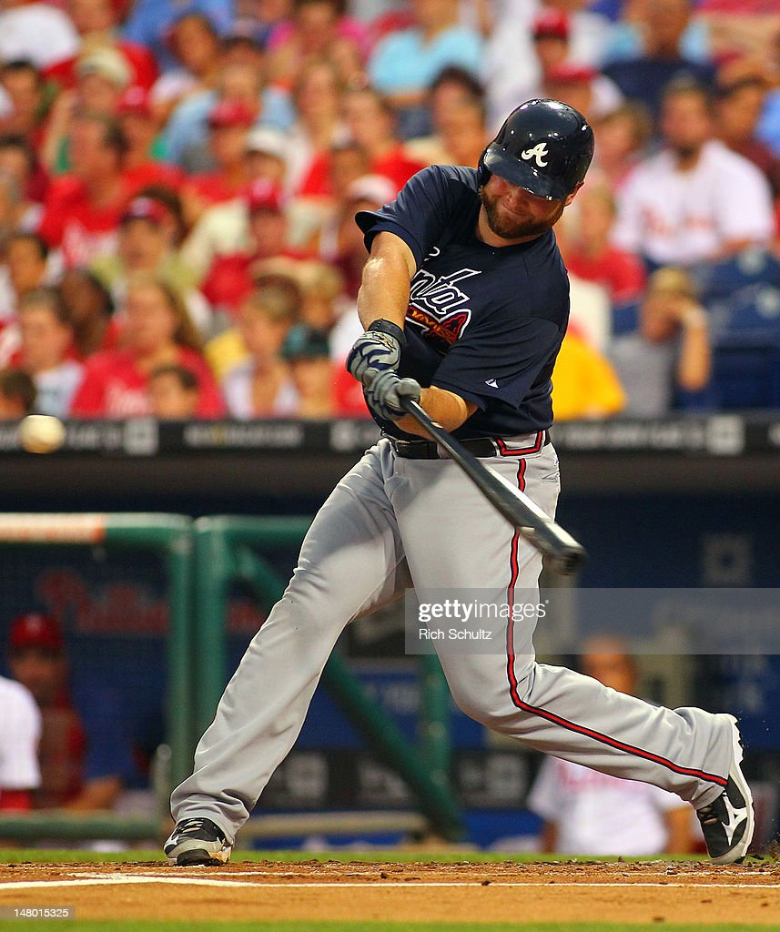 <a gi-track='captionPersonalityLinkClicked' href=/galleries/search?phrase=Brian+McCann+-+Baseball+Player&family=editorial&specificpeople=593065 ng-click='$event.stopPropagation()'>Brian McCann</a> #16 of the Atlanta Braves hits a home run in the second inning against the Philadelphia Phillies on July 7, 2012 at Citizens Bank Park in Philadelphia, Pennsylvania. The Braves defeated the Phillies 6-3.