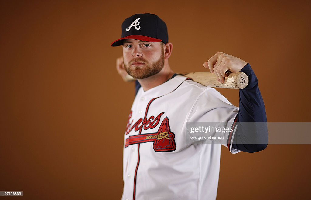 Brian McCann of the Atlanta Braves poses during photo day at Champions Stadium on February 26 2010 in Kissimmee Florida