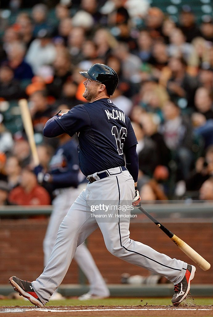 <a gi-track='captionPersonalityLinkClicked' href=/galleries/search?phrase=Brian+McCann+-+Baseball+Player&family=editorial&specificpeople=593065 ng-click='$event.stopPropagation()'>Brian McCann</a> #16 of the Atlanta Braves swings and watches the flight of his ball as he hits a two-run homer against the San Francisco Giants in the second inning at AT&T Park on May 9, 2013 in San Francisco, California.