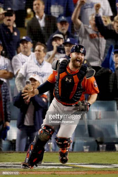 Brian McCann of the Houston Astros celebrates after defeating the Los Angeles Dodgers in game seven with a score of 5 to 1 to win the 2017 World...