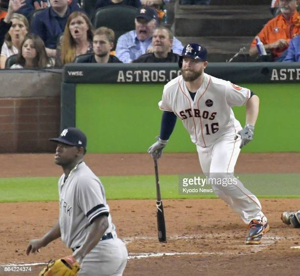 Brian McCann of the Houston Astros hits an RBI double in the fifth inning off Luis Severino of the New York Yankees in Game 6 of the American League...