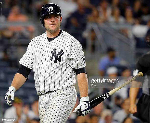 Brian McCann of the New York Yankees reacts after striking out in the ninth inning against the Boston Red Sox at Yankee Stadium on July 15 2016 in...