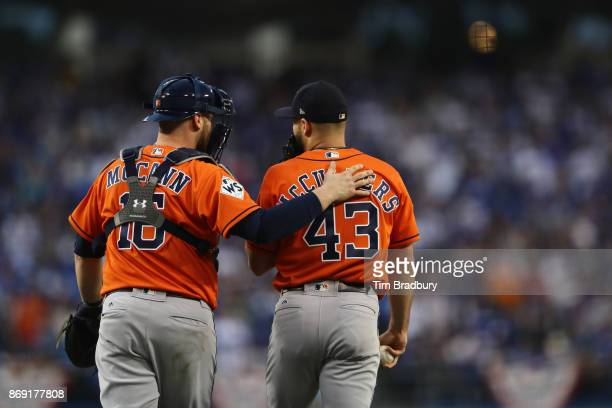 Brian McCann talks with Lance McCullers Jr #43 of the Houston Astros during the first inning against the Los Angeles Dodgers in game seven of the...